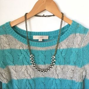 LOFT wide stripe cable knit crew neck sweater